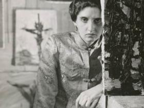Soshana with painting wearing Cheong Sam jacket   Paris 1957