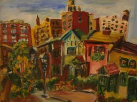 Old Street in NY City (1943) | Oil on Canvas | 41 x 50 cm
