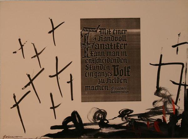 Mit einer Handvoll Fanatiker (1988)   Mixed Technique   48 x 65 cm