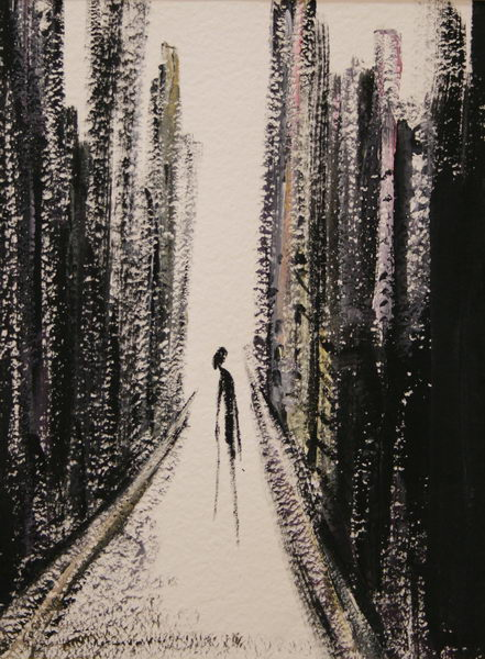 An old Woman alone in New York (1985) | Gouache on Paper 40 x 30 cm