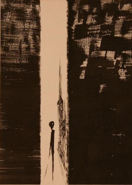 Alone in N.Y. IV. (1985)   Ink on Paper   36 x 26 cm