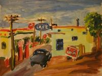 Cafe in Los Angeles (1944) | Oil on Cardboard | 25 x 32 cm