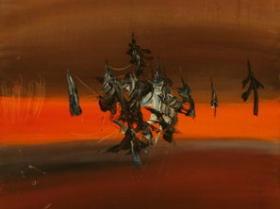 Sunset II. (1971) | Oil on Canvas | 100 x 50 cm