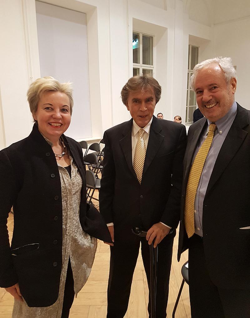 Prof. Dr. Martina Pippal, Austrian Ambassador in Russia Dr. Emil Brix and Amos Schueller