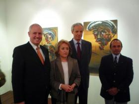 Amos Schueller; Lic. Lucía Sáenz Viesca, Director of Centro Cultural Isidro Fabela; Austrian Ambassador to Mexico Dr. W. Druml; Lic. Francisco Moreno Gutiérrez, Director General of the Bank of Mexico